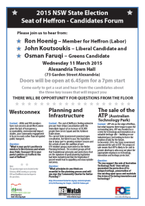 Heffron Meet the Candidates, 11 March, 7pm, at Alexandria Town Hall